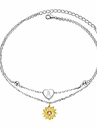 cheap -sterling silver layered chain alphabet letter initial a with sunflower beads foot bracelet anklet for women
