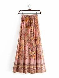 cheap -Women's Causal Daily Active Streetwear Skirts Floral Graphic Drawstring Print Blushing Pink