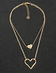 cheap -Layered Necklace Women's Layered Floral / Botanicals Heart Simple Cute Gold 45+7 cm Necklace Jewelry 1pc for Daily Carnival Heart Shape