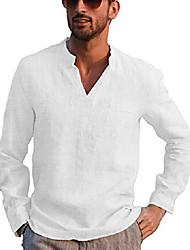 cheap -men's linen henley shirt long sleeve casual t-shirt beach yoga tops white