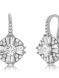 cheap -mia sarine rhodium plated sterling silver cluster drop antique look cubic zirconia leverback earrings for women (white)
