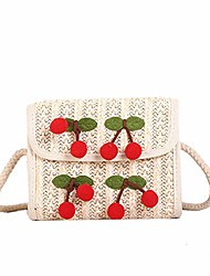 cheap -beach straw woven cherry shoulder bags women casual handbags chain small crossbody messenger bags boho bolsas (white)