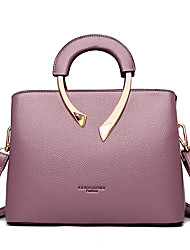 cheap -Women's Bags PU Leather Leather Top Handle Bag Zipper Handbags Daily Outdoor Black Blue Purple Red