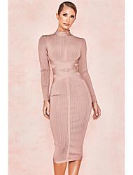 cheap -Sheath / Column Sexy bodycon Party Wear Cocktail Party Dress High Neck Long Sleeve Tea Length Spandex with Sash / Ribbon 2021