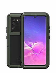 cheap -galaxy s10 lite case, military heavy duty shockproof dust/dirt proof hybrid aluminum metal+silicone+tempered glass drop protection case cover for samsung galaxy s10 lite (2020) (green)