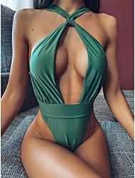 cheap -Women's One Piece Swimsuit Cut Out Yellow Green Black Swimwear Padded Bathing Suits Fashion Sexy