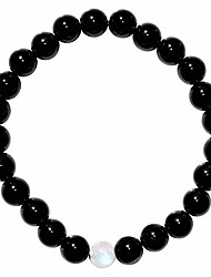 "cheap -charged distance bracelet - premium 7"" black tourmaline & rainbow moonstone crystal 8mm bead bracelets tumble polished stretchy + selenite charging heart included (healing energy / psychic"
