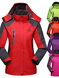 cheap -Women's Hiking Jacket Hiking Windbreaker Winter Outdoor Patchwork Waterproof Windproof Breathable Warm Jacket Top Full Length Hidden Zipper Camping / Hiking Hunting Climbing Purple Red Light Green