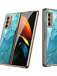 cheap -all-inclusive anti-drop tempered-glass plating frame hard shell compatible for 2020 samsung galaxy z fold 2 5g case,full protection cover, scratch-resistant protective cases (lake blue)