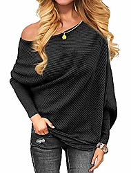 cheap -women solid casual off shoulder knitted top pullover loose batwing long sleeve sweater jumper black