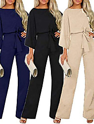 cheap -summer casual women long sleeve jumpsuit fashion lady solid color elegant romper pants with belte (l, beige)