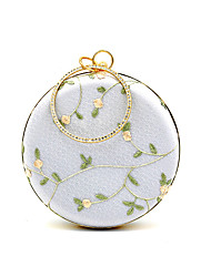 cheap -Women's Bags Polyester Alloy Evening Bag Crystals Flower Embroidery Embroidered Rhinestone Wedding Bags Wedding Party Light Gray