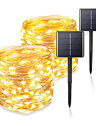 cheap -2pcs 1pc 22m 200 LEDs Solar Light String Outdoor Waterproof Garden Fairy Lights String Christmas Wedding Party Solar Light Decoration Solar Garden String Light