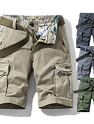 "cheap -Men's Hiking Shorts Hiking Cargo Shorts Military Solid Color Summer Outdoor 10"" Standard Fit Quick Dry Breathable Sweat wicking Wear Resistance Cotton Shorts Bottoms Dark Grey Army Green Light Grey"