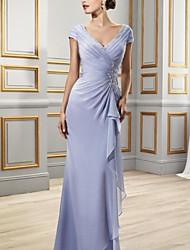 cheap -Sheath / Column V Neck Floor Length Chiffon Bridesmaid Dress with Ruffles / Draping