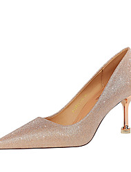 cheap -Women's Heels Stiletto Heel Pointed Toe Casual Daily Walking Shoes Gleit Pink Champagne Silver / 2-3