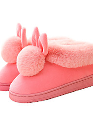 cheap -Women's Slippers & Flip-Flops Fuzzy Slippers Indoor Shoes Flat Heel Round Toe Casual Daily Walking Shoes Suede Black Fuchsia Pink