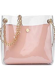 cheap -shoulder crossbody bag for women,candy chain strap clear handbags pvc messenger tote purse (pink)