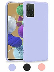 cheap -samsung galaxy a51 case (4g version), liquid silicone case with microfiber lining thickening shockproof design soft gel rubber case cover for samsung galaxy a51 - violet purple
