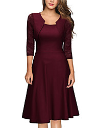 cheap -Women's Swing Dress Knee Length Dress - 3/4 Length Sleeve Solid Color Zipper Lace Patchwork Spring Square Neck Vintage Slim 2020 Blue Wine Green S M L XL XXL