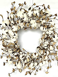 cheap -large cotton pods wreath, summer fall year round everyday farmhouse decor on grapevine for front door wall window 24inch