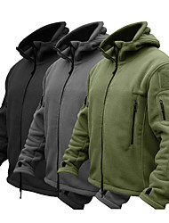 cheap -Men's Hoodie Jacket Hiking Jacket Hiking Fleece Jacket Winter Warm Military Tactical Outdoor Solid Color Thermal Warm Windproof Fleece Lining Breathable Winter Jacket Top Camping Hunting Fishing Black