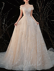cheap -A-Line Wedding Dresses Off Shoulder Floor Length Tulle Cap Sleeve Country Romantic with Pleats Appliques 2020