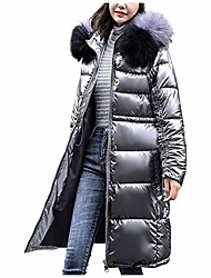 cheap -women's winter glossy mid-length hooded thick padded jacket ong warm parka bread service coat