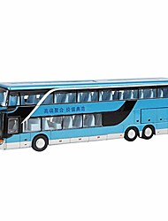 cheap -electric 1:50 alloy double decker school bus pull back bus vehicles car model set toy with light music best gift for children toddlers kids(blue)