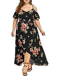 cheap -maxi dresses plus size cold shoulder chiffon floral print v-neck short sleeve flower beach split dress(18,black-cold shoulder)