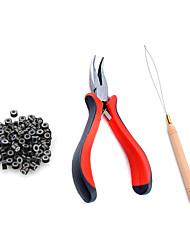 cheap -Micro Links Hair Extension Kit Tool 200 Pcs Micro Ring Beads(Black/ Blonde/ Brown) 1 Curved plier Plier 1 Hook Needle Pulling Loop