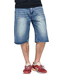 cheap -men's casual loose hip hop work cargo pockets denim jeans shorts(lightblue-36)