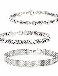 cheap -sterling silver jewelry set: 3 link bracelets for women