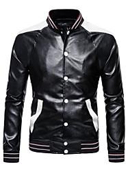 cheap -men's faux leather jacket classic asymmetric lapel motorcycle leather jacket (black,medium)