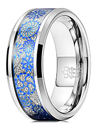 cheap -mens gear tungsten carbide unisex wedding bands rings for men 8mm comfort fit vintage punk mechanical foil opal meteorite inlay blue silver size 12.5