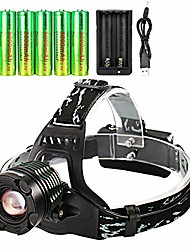 cheap -6pc 18650 battery with 18650 rechargeable headlamp adjustable waterproof led zoomable brightest led headlamp with charger for camping running hiking outdoors