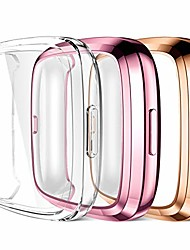 cheap -compatible with fitbit versa 2 screen protector case, ultra thin full protective case cover for versa 2 smartwatch bands accessories, 3 pack clear/rose pink/rose gold
