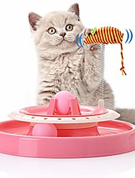 cheap -interactive cat toy cat turntable toys roller turbo track with spring mouse and balls tower track toy cat toys pet supplies for kitten kitty (1pc pink)