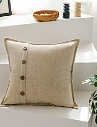 cheap -Simple Cotton And Linen Style Plain Pillow Case Cover Button Decoration Solid Color Pillow Case Cover Living Room Bedroom Sofa Cushion Cover