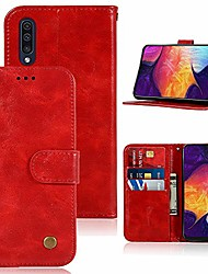 "cheap -galaxy a50 case, a50 phone case for women,  pu leather wallet flip folio protective phone case cover with card slots and stand for samsung galaxy a50 2019 6.4"" (red)"