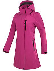 cheap -women's long waterproof soft shell jacket winter skiing outdoor camping hiking leisure sports fleece jacket windstopper thermal warm outwear trekking windbreaker coat top hooded