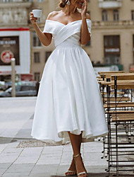 cheap -A-Line Wedding Dresses Off Shoulder Knee Length Satin Short Sleeve Vintage Little White Dress 1950s with 2021