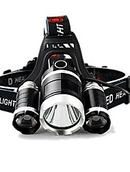 cheap -T1 Headlamps Waterproof 150 lm LED LED 3 Emitters 4 Mode with Adapter Waterproof Camping / Hiking / Caving Everyday Use Cycling / Bike Black