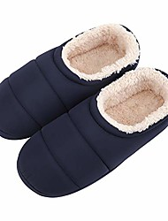 cheap -mens indoor slippers winter soft cozy warm fleece cotton home slipers memory foam slip on non slip bedroom footwear shoes plush ankle boots booties navy blue