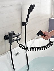 cheap -Bathtub Faucet - Contemporary Black Wall Mounted Ceramic Valve Bath Shower Mixer Taps with Handshower Bidet Sprayer