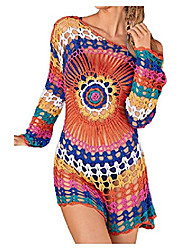 cheap -wander ago beach tops sexy knit cover dresses bikini cover-ups nets sun flower colorful