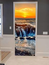cheap -Seaside Sunset Self-adhesive Creative Door Stickers Living Room Diy Decorative Home Waterproof Wall Stickers