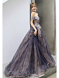 cheap -A-Line Sparkle Elegant Prom Formal Evening Dress Off Shoulder Sleeveless Court Train Satin Tulle Sequined with Sequin Appliques 2021