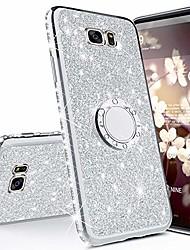 cheap -Phone Case For Samsung Galaxy Silicone Rhinestone with Stand Glitter Shine Silicone