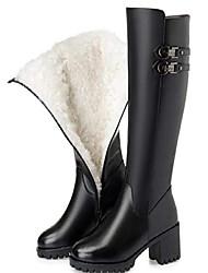 cheap -women's genuine leather winter boots wool high heel high warm snow boots black wool 6